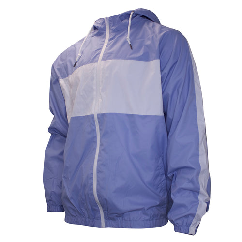 the pastel blue and white windbreaker zip-up jacket is pastel blue with white accents on the chest and arms