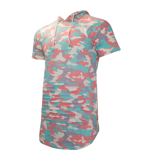 the pastel camo short sleeve hoodie has a pastel camo pattern with gold side zipper