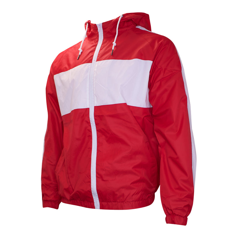 the red and white windbreaker zip-up tracksuit is solid red with white accents on the chest and sleeves