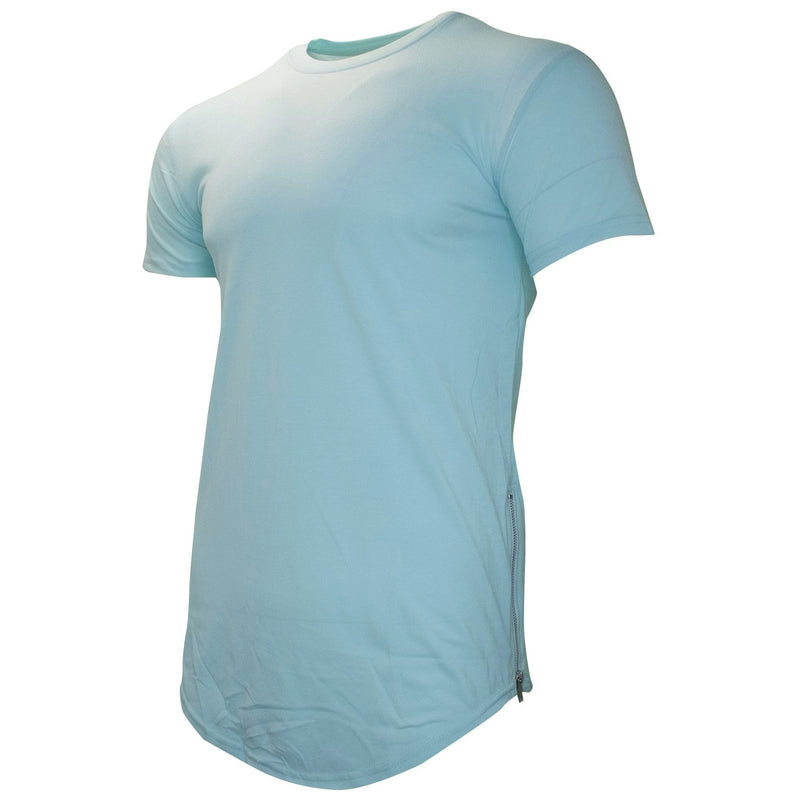 the pastel turquoise crewneck elongated scoop t-shirt has a silver zippers