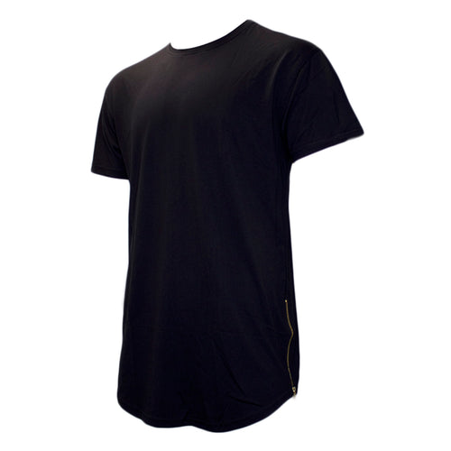 the black crew neck t-shirt has an elongated bottom and gold zippers
