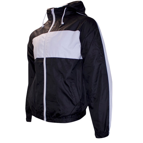 this black and white windbreaker track jacket is black with white accents on the sleeves and chest