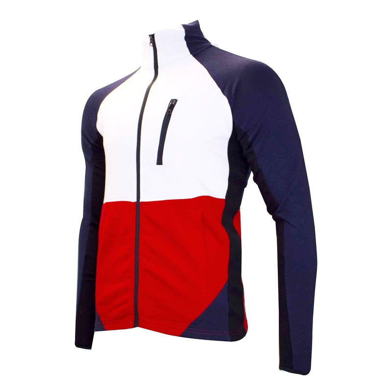 the navy blue track jacket is navy blue and white with red and black accents