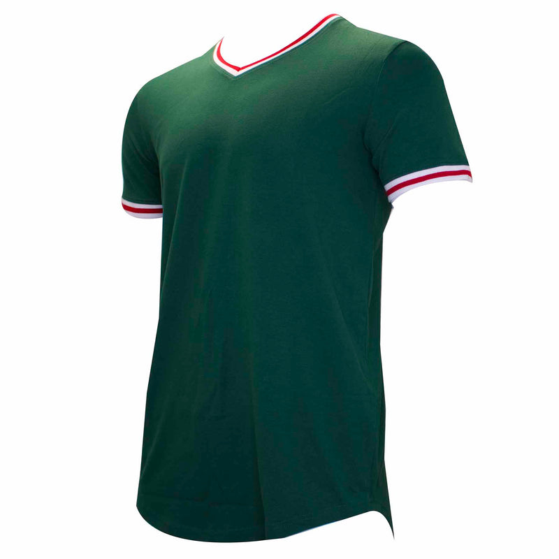 the green, white, and red gucci color-way inspired v-neck t-shirt is green with with and red taping on the sleeve and neck
