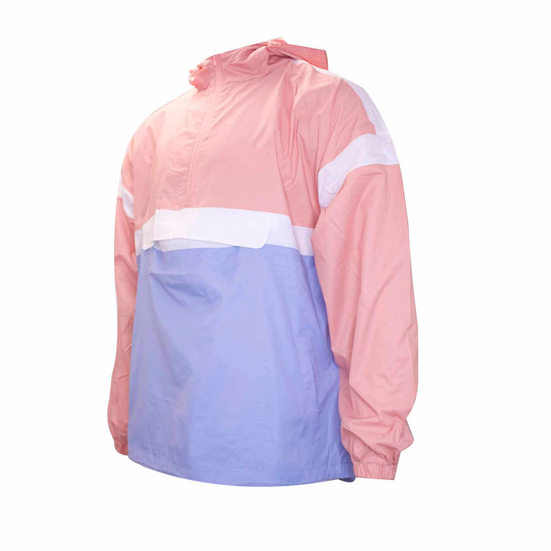 the pastel pink and pastel blue windbreaker anorak jacket has a front pouch and white stripe accents on the chest and arms