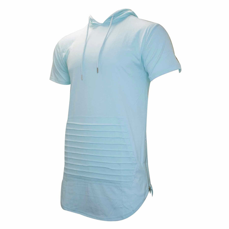 the pastel turquoise short sleeve hoodie has a front pocket silver zipper and turquoise hood