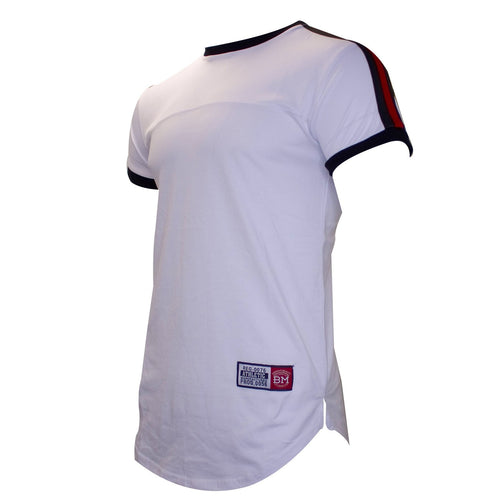 the white jersey t-shirt is white and has black and red taping