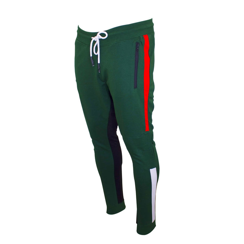 the green and red gucci colorway track pants are green with red, white, and black accents
