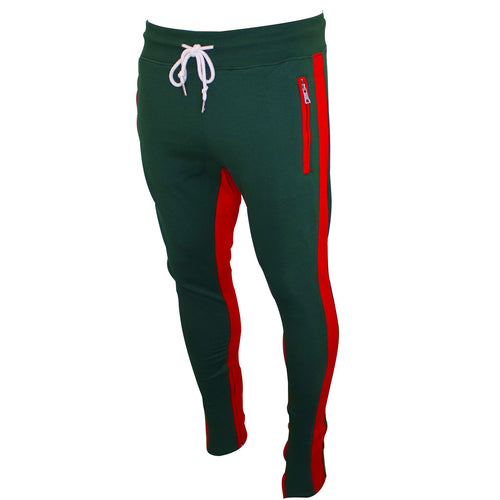 the gucci colorway inspired trackpants are green with red accents