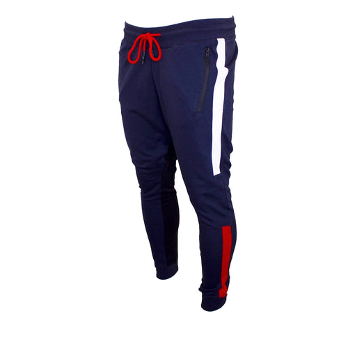 this nautical fashion navy, red, and white tapered track pants is navy blue with red and white accents