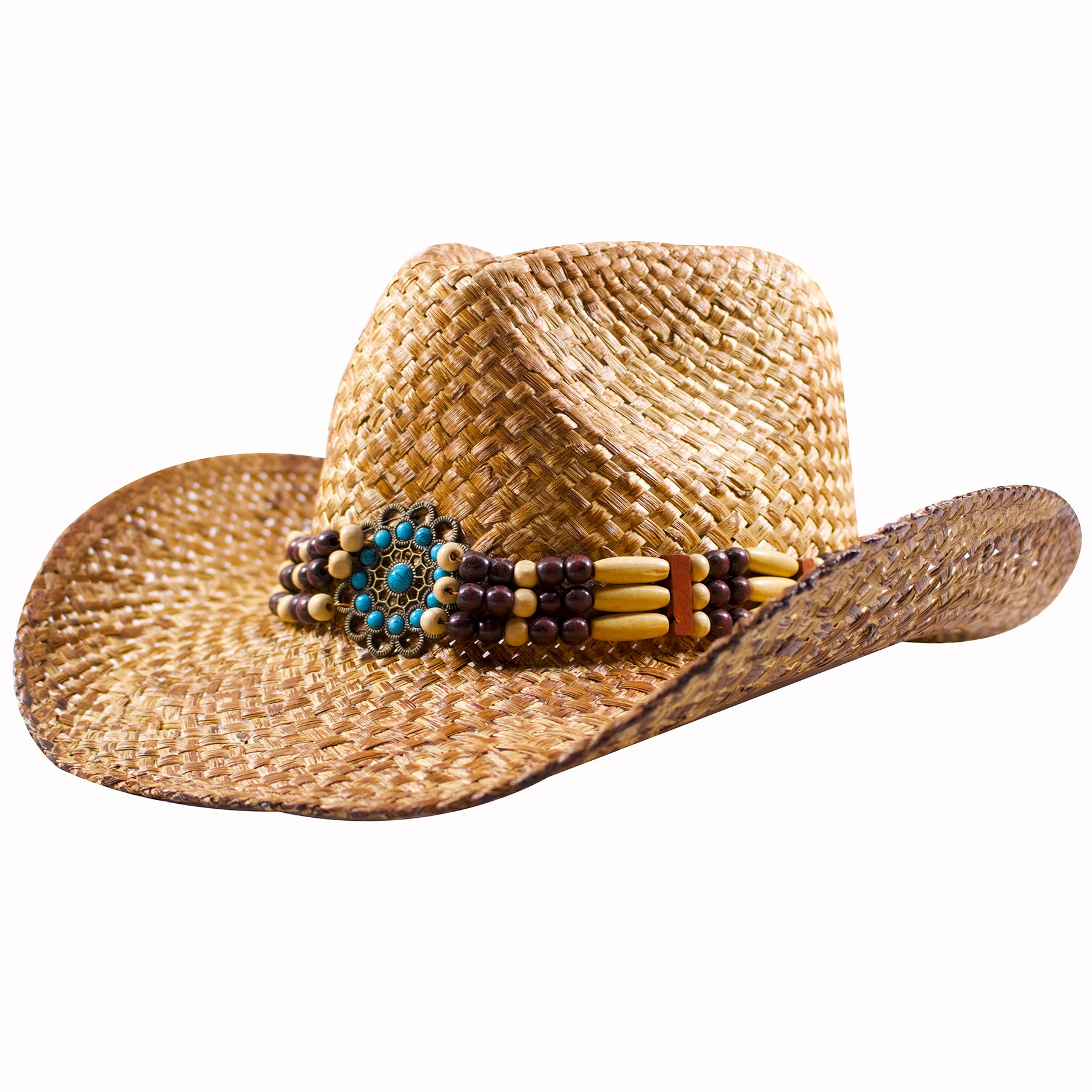 062d9fdf8a9ad ... the beaded band wraps around the base of the tan straw cowboy hat and  contains different ...