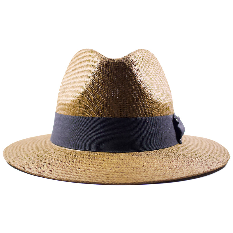 this brown premium straw fedora is woven with a dark straw material