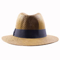 the crown of the brown straw summer fedora is shaped in the classic shape of a modern fedora