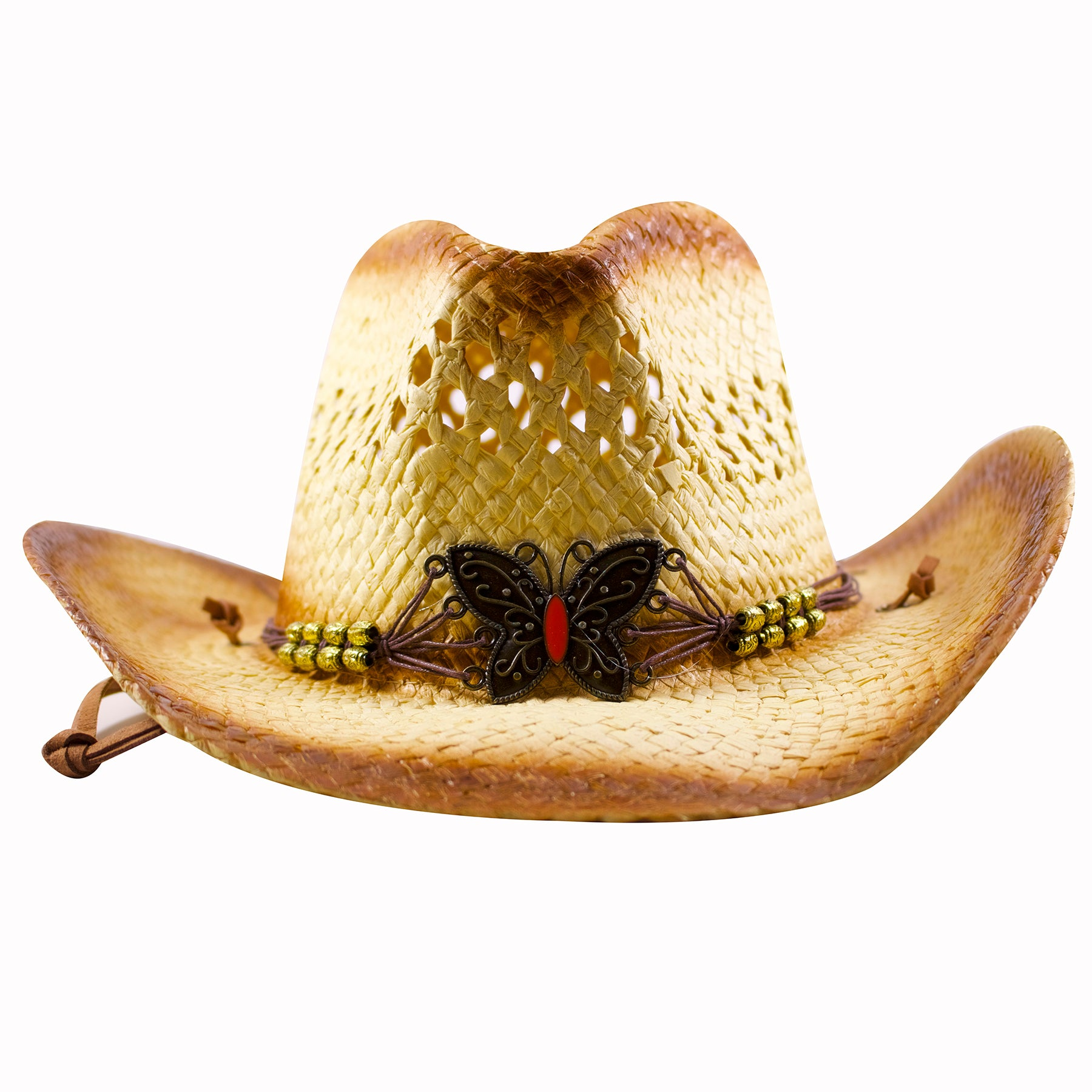 On the front of the butterfly emblem straw cowboy hat is a metallic  butterfly emblem attached 7cbfa998c6a
