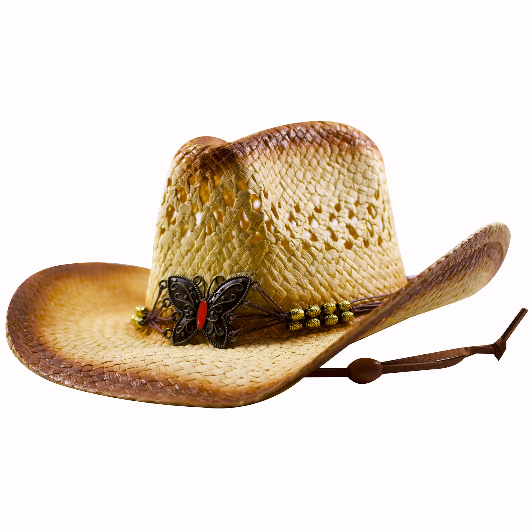 083eb3b1972 ... the butterfly emblem straw cowboy hat has holes in the straw for  comfort and breathability and ...