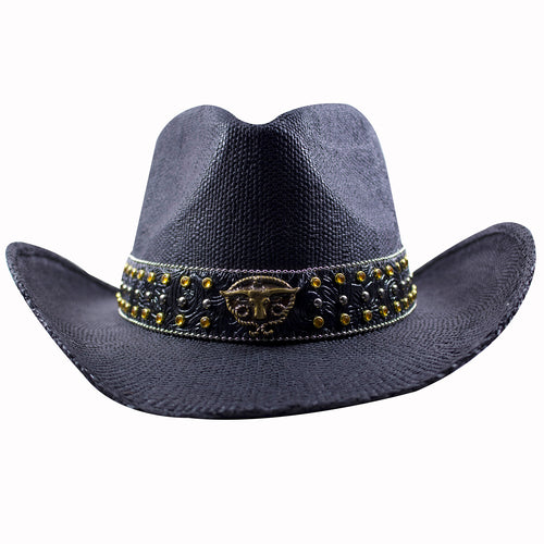 14e2aa271ea the bull emblem black straw cowboy hat has a metallic bull emblem on the front  with