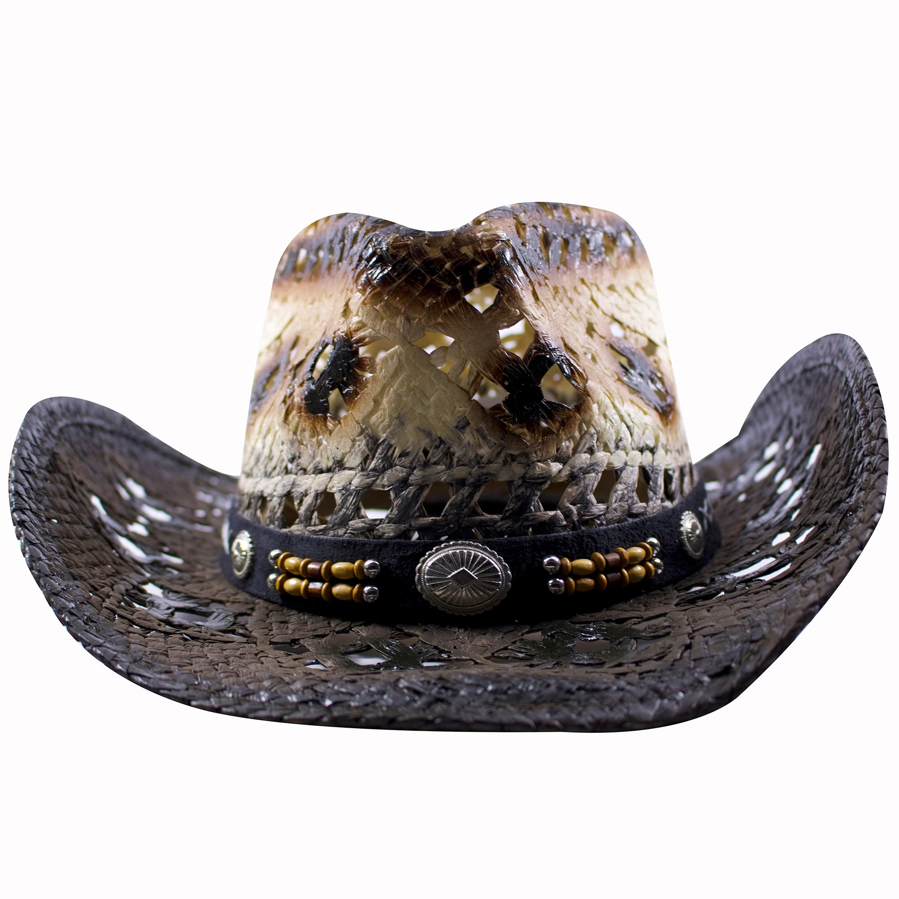 on the front of the brown straw cowboy hat is a circular buckle with beads  on fe638a07e6b