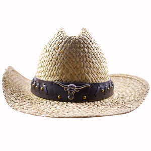 the straw bull buckle cowboy hat is has a metallic bull emblem on the front