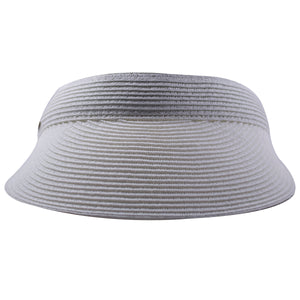 the circular premium woven white straw visor from scala is guaranteed to keep the sun out of your eyes