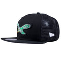 on the left side of the philadelphia eagles custom 9fifty trucker snapback hat is the new era logo embroidered in white