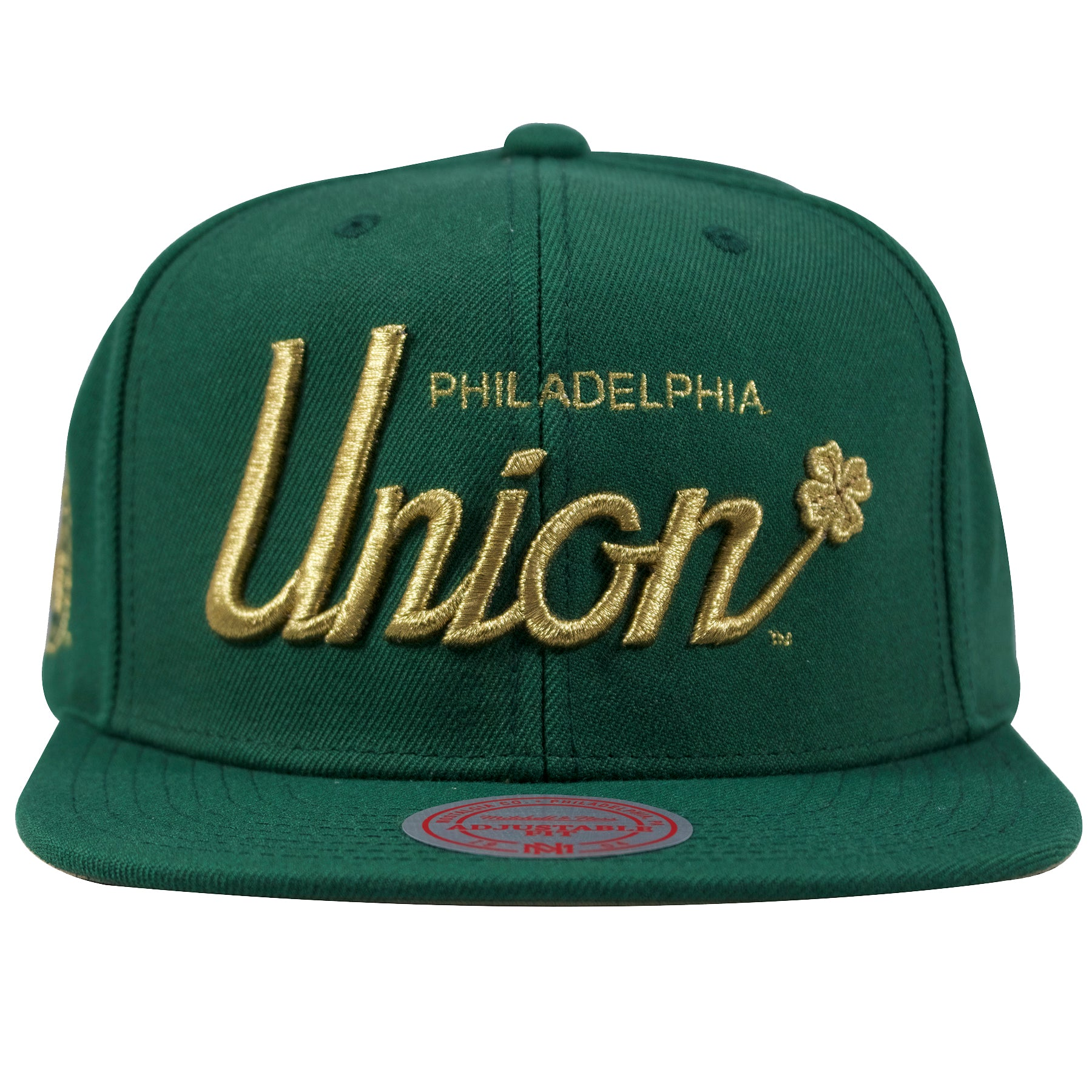 afe3183c91f on the front of the Philadelphia union four leaf clover green and gold  snapback hat is