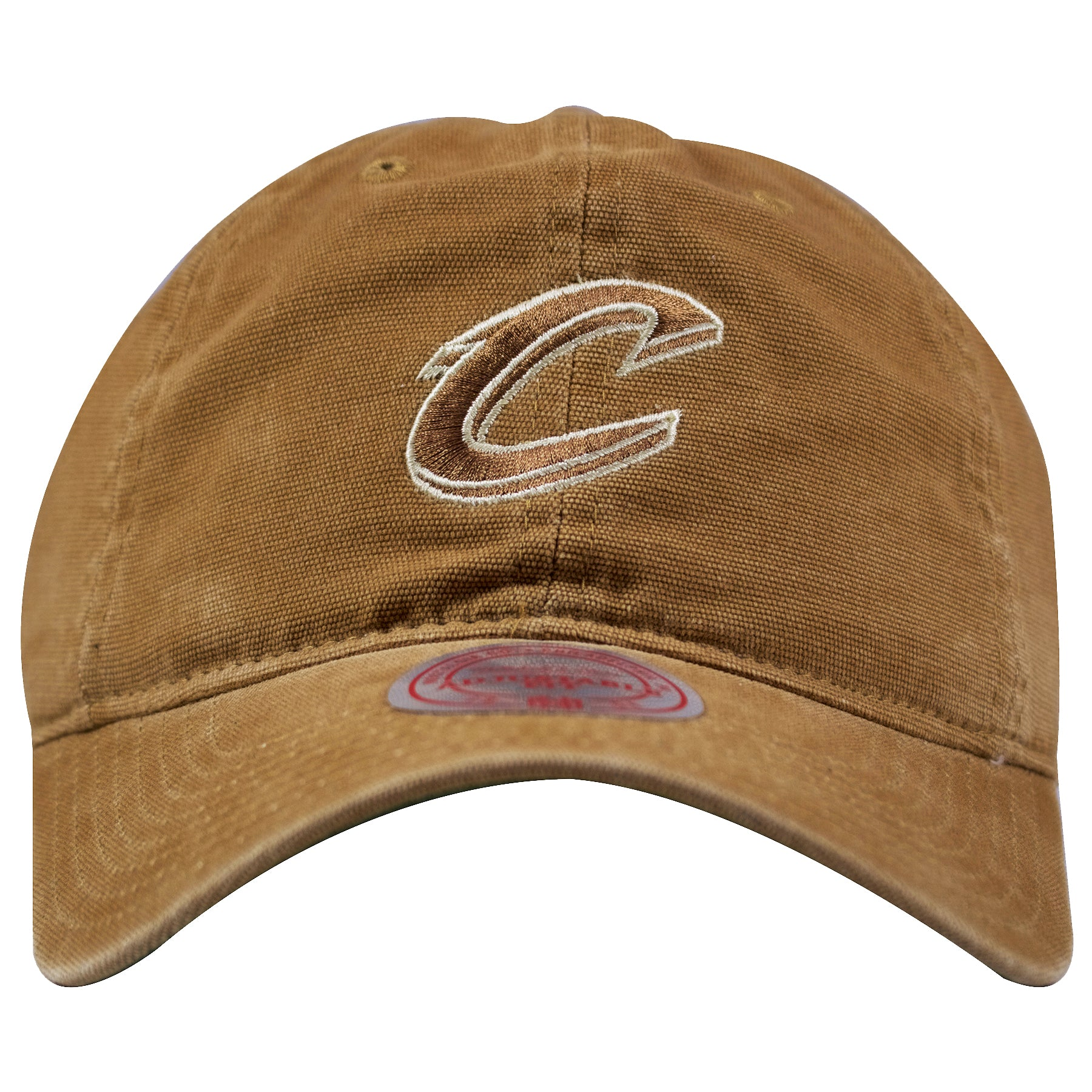 63f4d20874b66 on the front of the cleveland cavaliers workman s utility cotton cleeland  cavaliers dad hat is tan