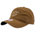 the cleveland cavaliers tan oxford carhartt inspired dad hat is tan with a soft crown and a bent brim