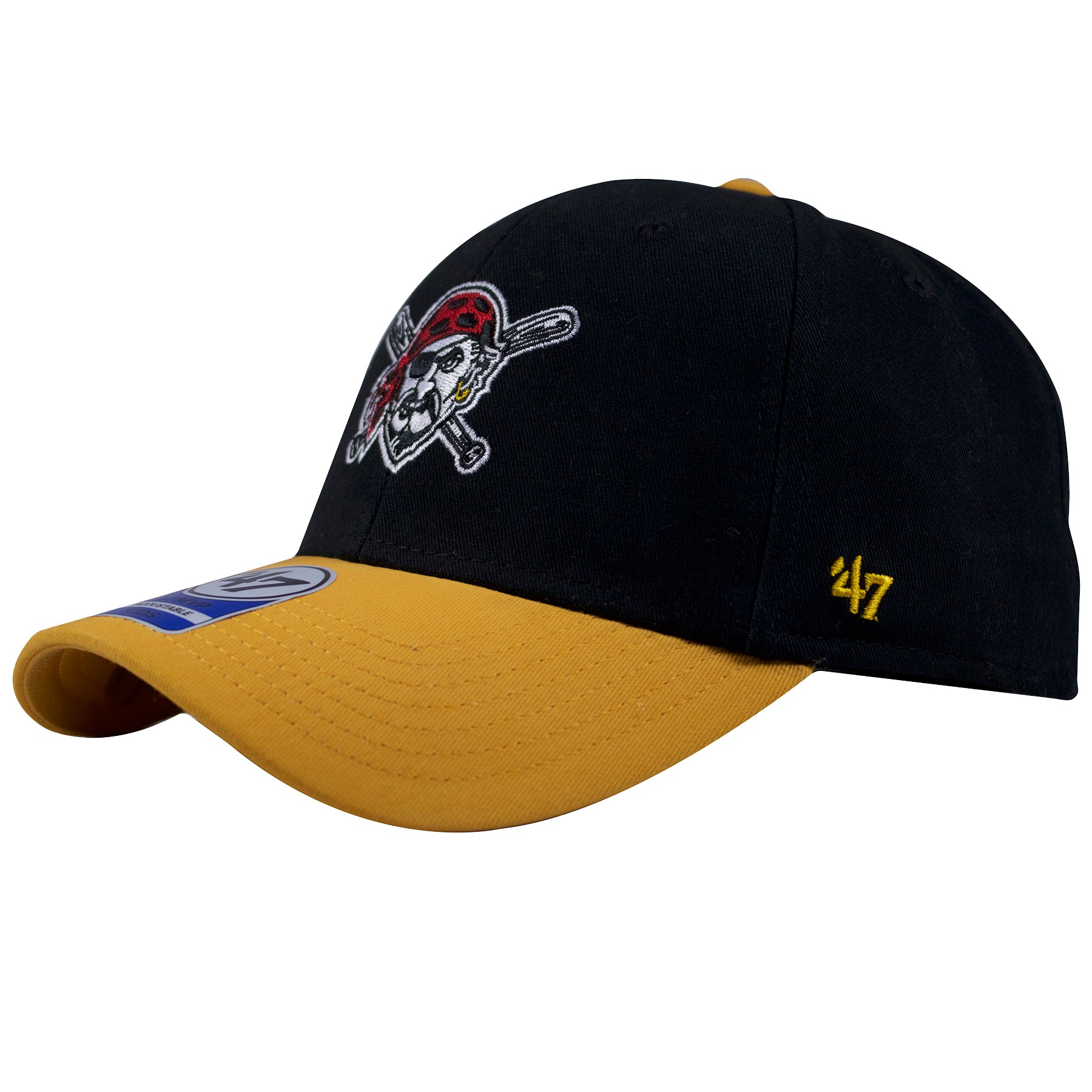 acc167ecdc4 ... baseball cap black 30986 cc371  coupon for on the left side of the  pittsburgh pirates bent brim youth dad hat is