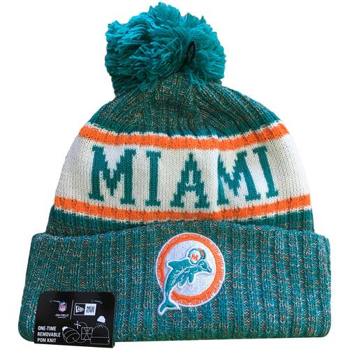4e1aefd026912 Embroidered on the front of the Miami Dolphins Retro 2018 On Field Sideline  Winter Beanie is