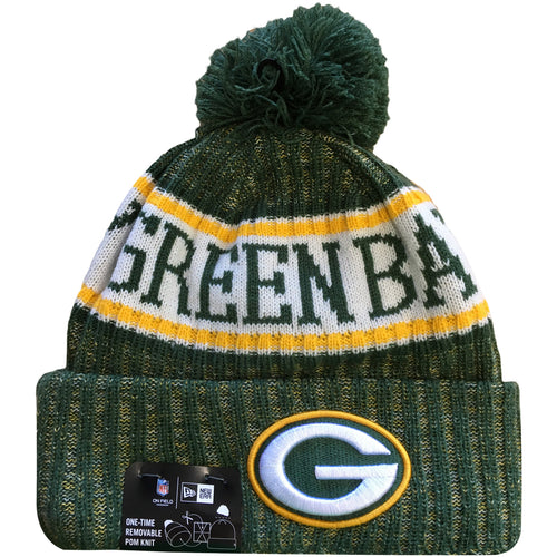 Embroidered on the front of the on field Green Bay Packers 2018 Cold Weather Sideline Knit Hat is the Green Bay Packers logo embroidered in green, white and yellow