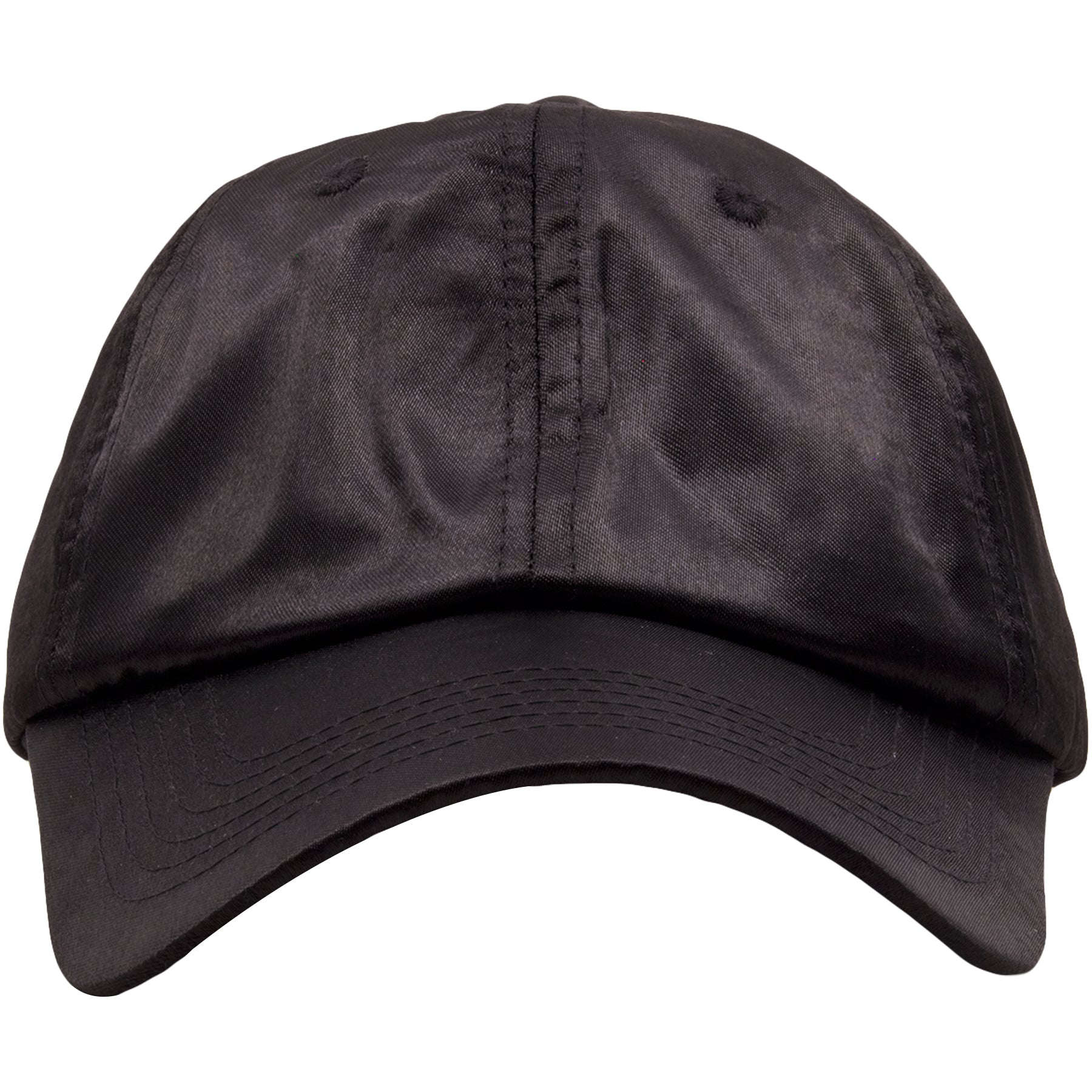 eb7c45a4375 The black satin blank adjustable ball cap is solid black and made out of 100 %
