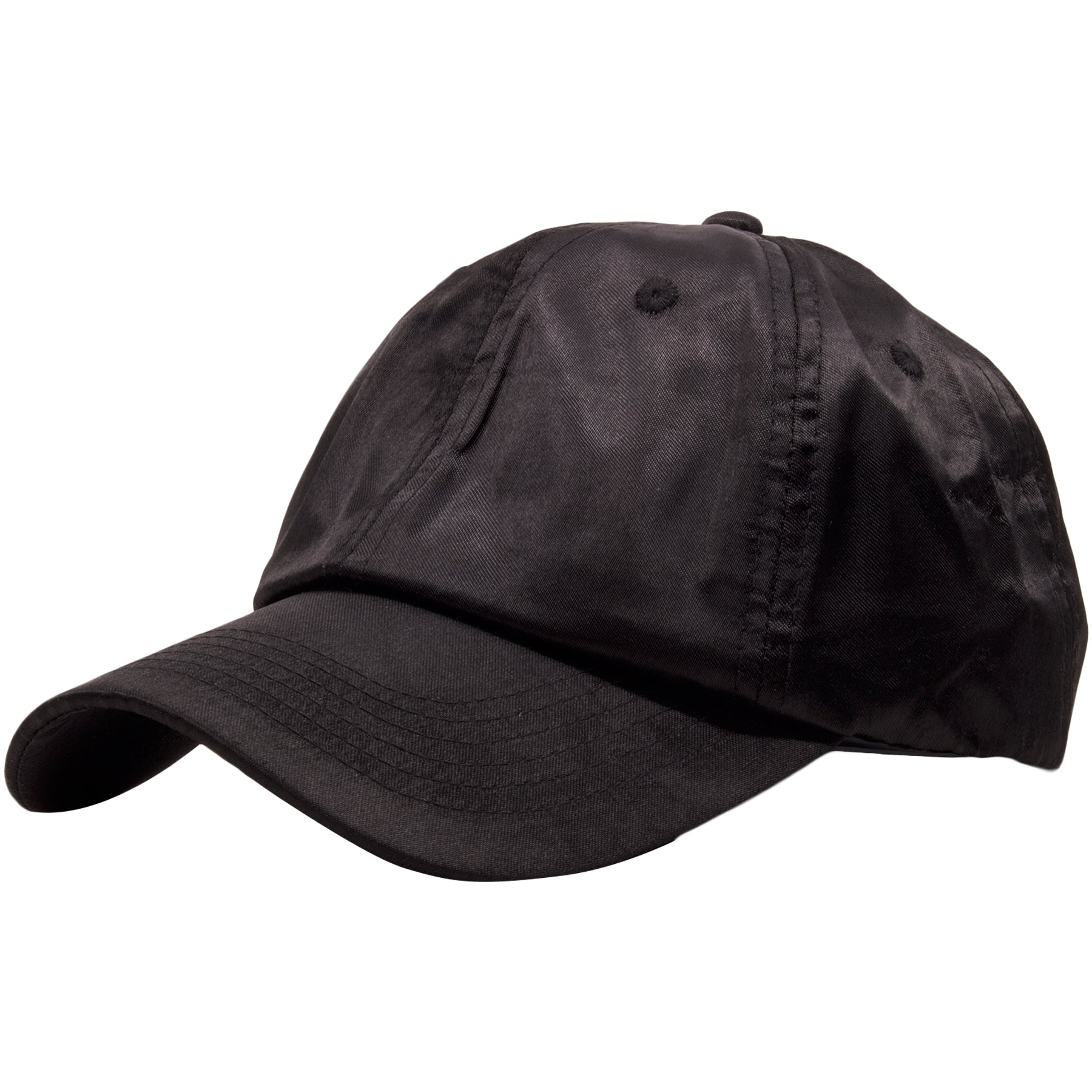 09ffa20129e60 ... the black satin blank adjustable dad hat has a soft unstructured crown  and a bent brim ...