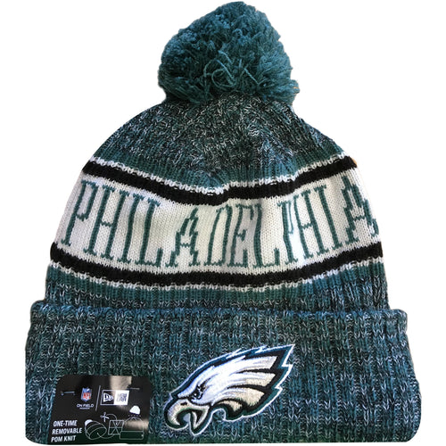 Embroidered on the front of the Philadelphia Eagles 2018 On Field Sideline  Winter Pom Beanie is 41ed616a8