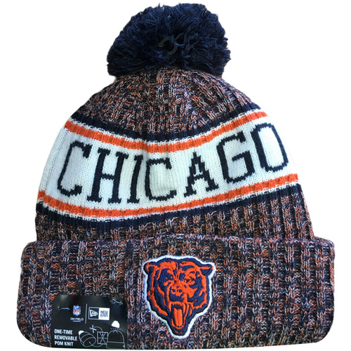 Embroidered on the front of the 2018 On Field Chicago Bears Retro Sideline Beanie is throwback Retro Chicago Bears logo embroidered in orange and navy blue