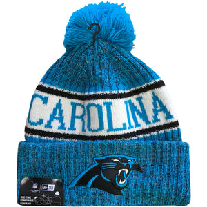 Embroidered on the front of the Carolina Panthers 2018 On Field Cold Weather Sideline Beanie is the Carolina Panthers logo embroidered in black and carolina blue