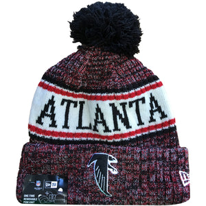Embroidered on the front of the Atlanta Falcons 2018 On Field Cold Weather Sideline beanie is the Falcons logo embroidered in black and white