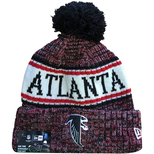 a10738cd412a06 Embroidered on the front of the Atlanta Falcons 2018 On Field Cold Weather  Sideline beanie is