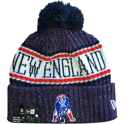 Embroidered on the front of the 2018 on field  New England Patriots retro sideline beanie is the retro New England Patriots logo embroidered in navy blue, white, and red