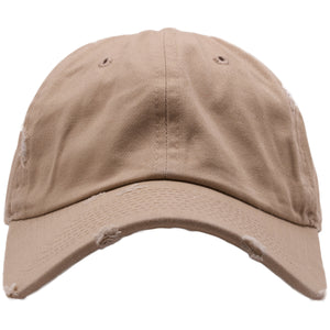 The khaki distressed blank dad hat is made out of 100% cotton and is solid khaki