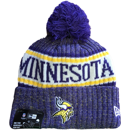 Embroidered on the front of the 2018 Minnesota Vikings On Field Sideline Cold Weather Knit Beanie is the Vikings logo embroidered in white, yellow, purple, and black