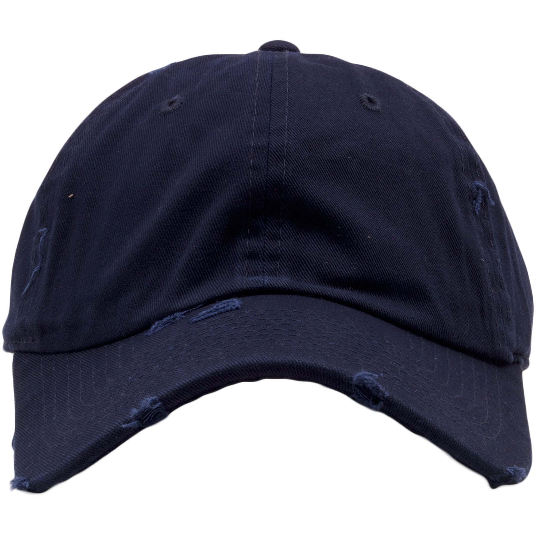 ed2835ba The navy blue blank distressed dad hat from Foot Clan is solid navy blue  with a