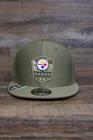 front of Steelers Salute to Service Snapback | 950 Snap Back Pittsburgh Steelers On Field Olive Green Military Inspired Hat