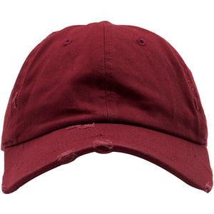 The Foot Clan Maroon Vintage Distressed Blank Adjustable Dad Hat is solid maroon and made out of 100% cotton