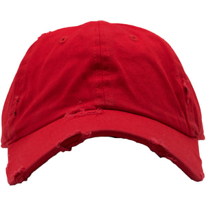 The Foot Clan Red Distressed Blank Dad Hat is solid red and made out of 100% cotton