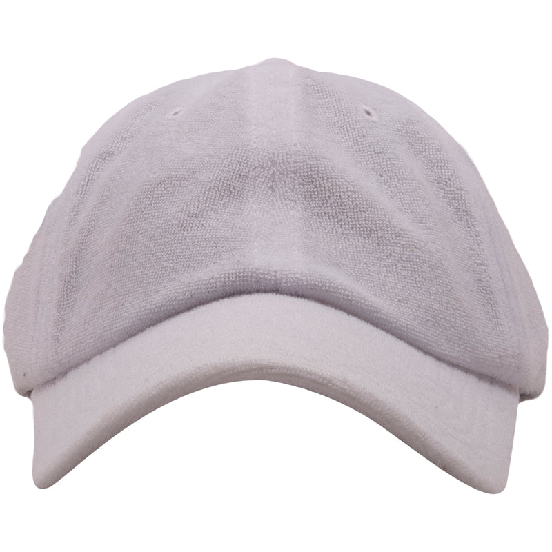 The foot clan blank terry cloth white baseball cap is solid white and has the exterior covered in terry towel material