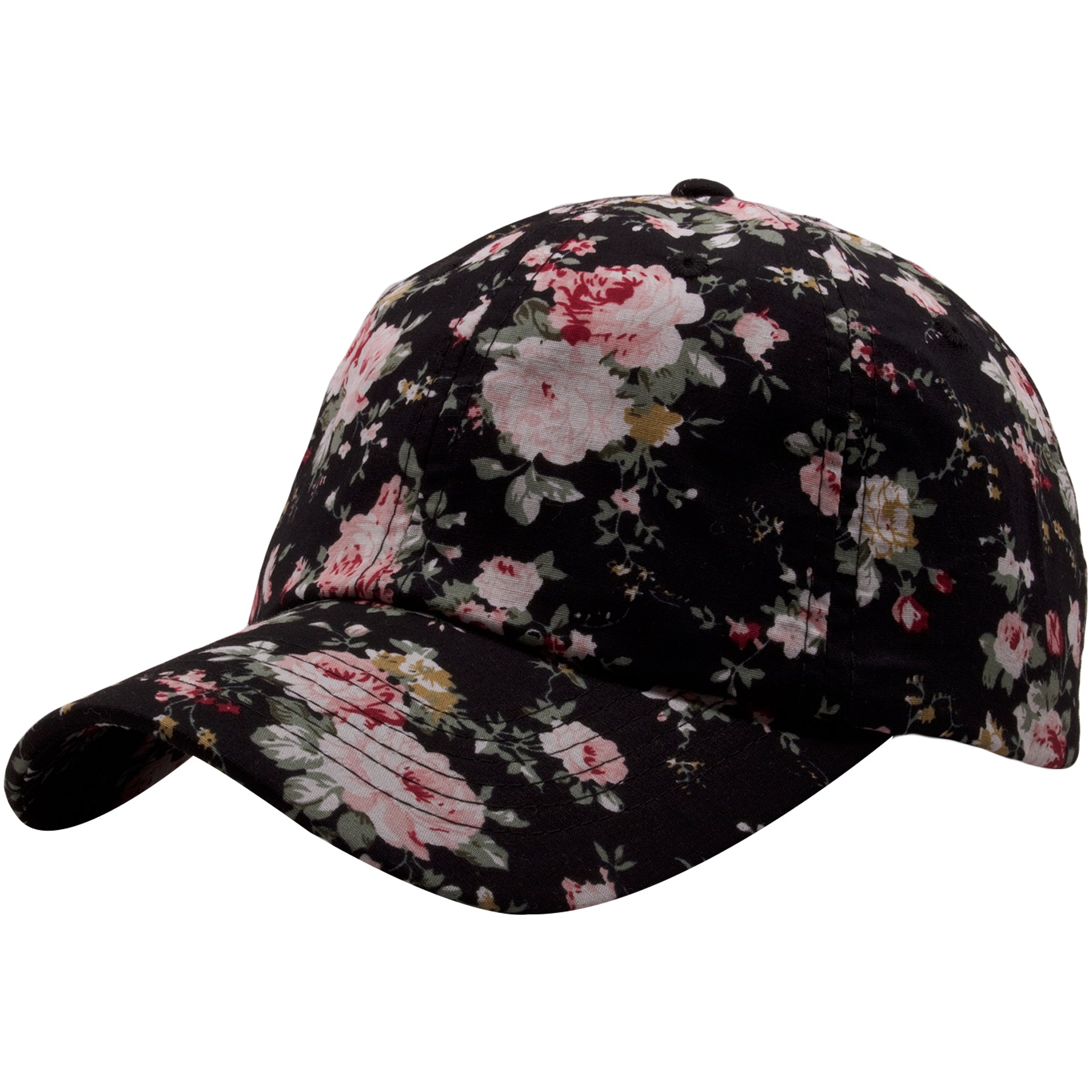 ... The Foot Clan Black Floral Blank Adjustable Dad Hat features a bent  brim and a soft ... 4da72d1ca12a