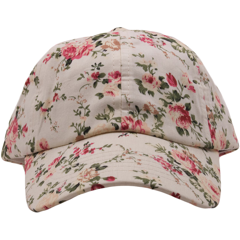 The off white floral blank adjustable ball cap is off white and features pink flower with green leaves across the entire hat