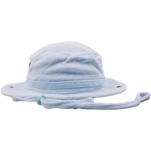 The Foot Clan Light Blue Terry Cloth blank bucket hat is solid light blue and entirely made up of the terry cloth material
