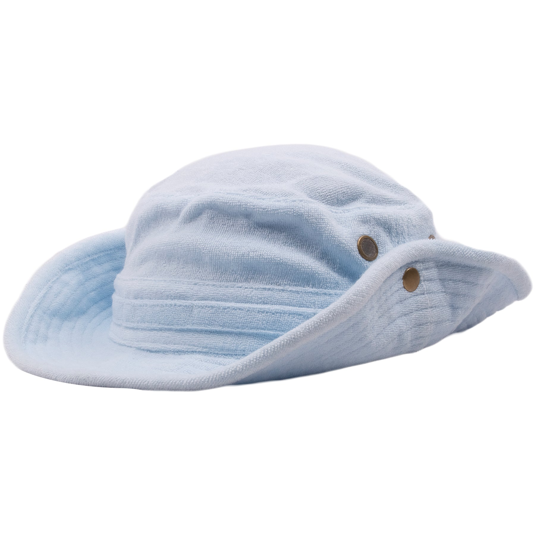 ... light blue and entirely  The sides of the blank terry cloth bucket hat  feature a button that allows the brim ... 74af9dec59ec