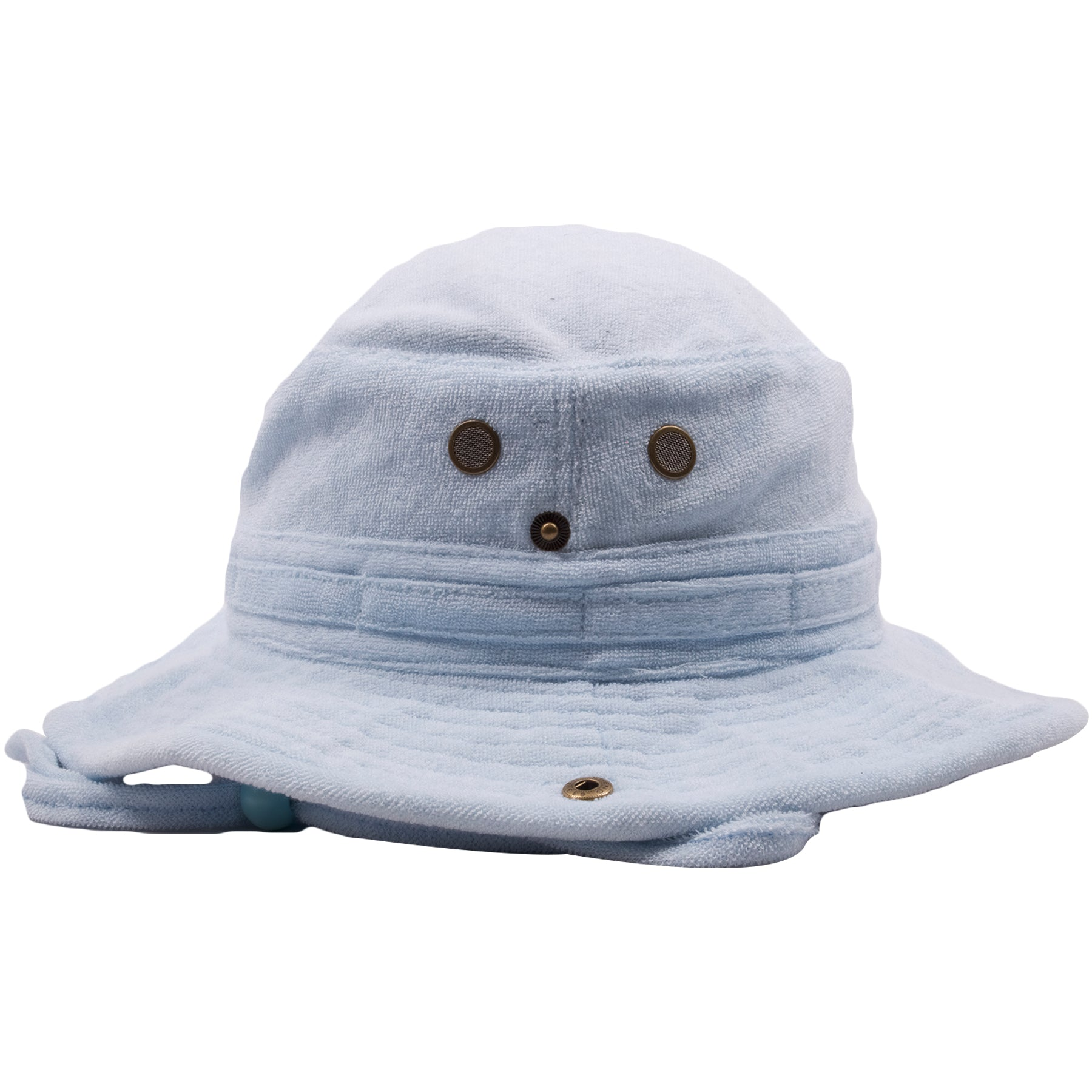 ... adjustable chinstrap  the sides of the light blue terry cloth bucket  hat has airvents for airflow ... 32640a5d816c